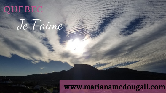 Quebec Je T'aime, www.marianamcdougall.com, picture of mountain with clouds in background in Perce, Quebec