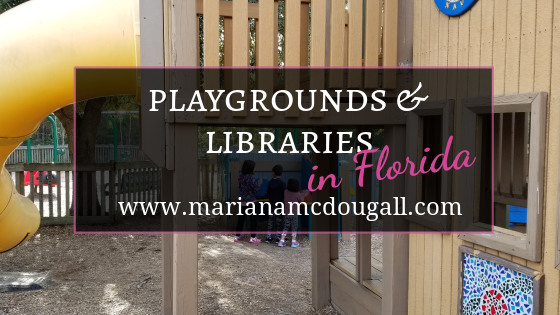 Playgrounds and Libraries in Florida, www.marianamcdougall.com. Picture of three children playing at Perdido Kids Park.