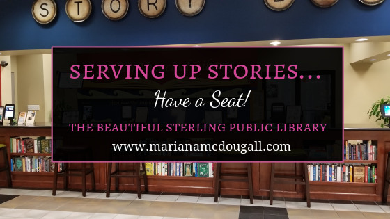Serving Up Stories... have a seat! The beautiful Sterling Public Library, www.marianamcdougall.com. Picture of Story Bar in Sterling Public Library lounge.