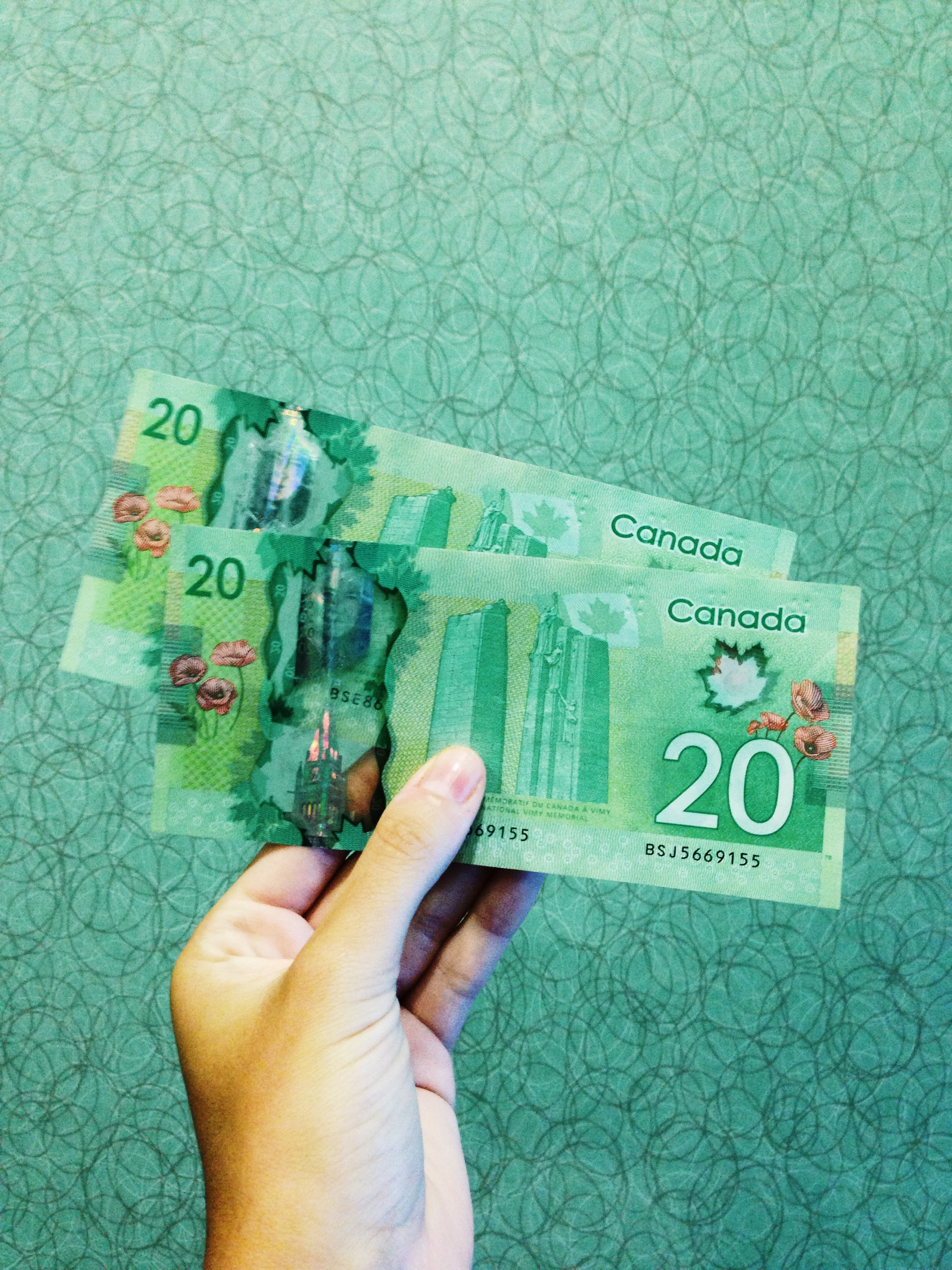 hand holding Canadian $20 bills.