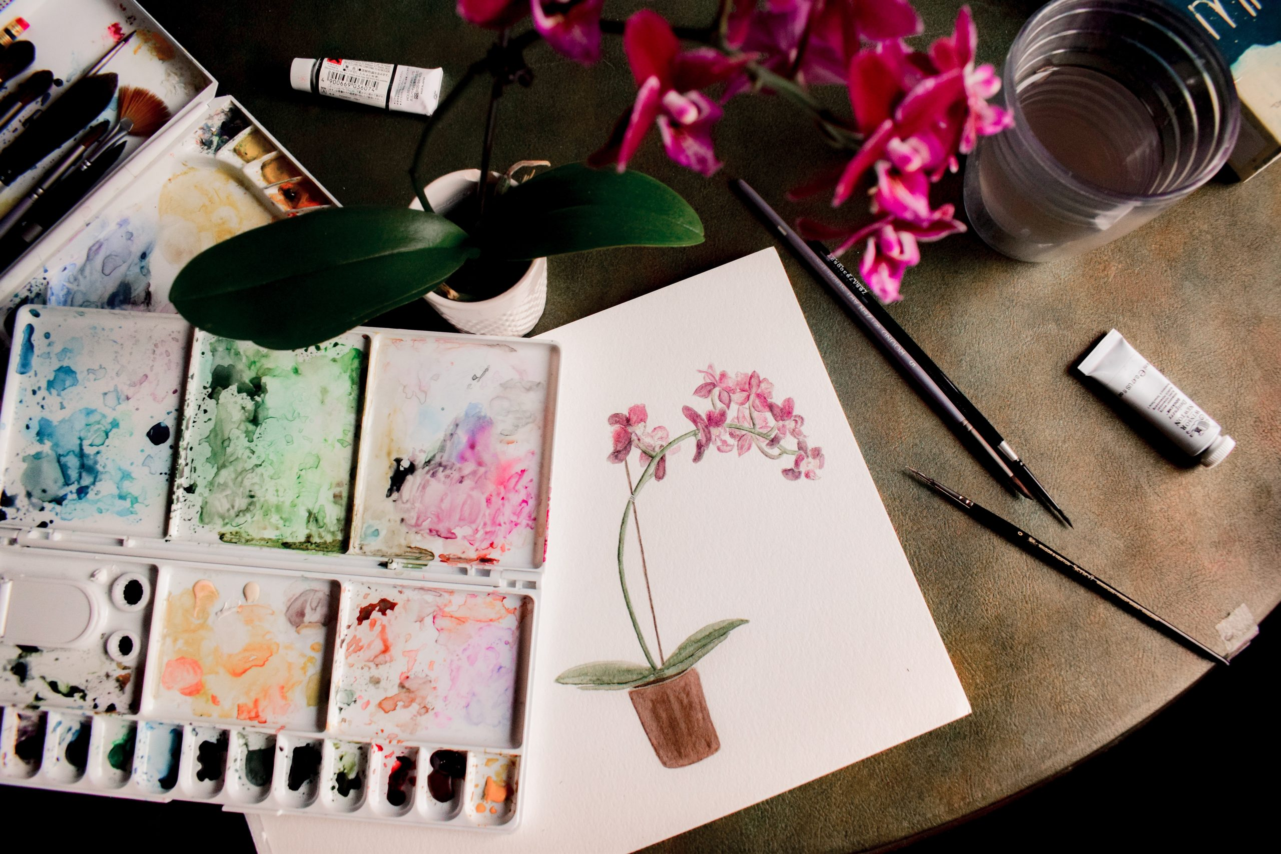 Picture of a flower watercolour painting, by Sarah Brown on Unsplash
