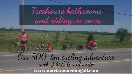 treehouse bathrooms and riding on cows; our 500-km adventure on bicycles with 3 kids 6 and under
