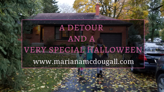 """Blog Title in pink and white lettering: """"A detour and a very special Halloween, www.marianamcdougall.com."""" Children walking up to a house to trick or treat. One is dressed as Tinkerbell, another as a Jedi, and another as Cleopatra."""